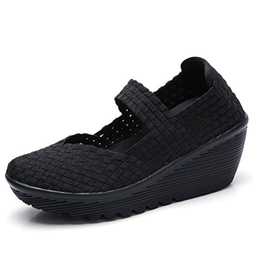 (HKR Womens Wedge Sandals Woven Closed Toe Platform Mary Jane Pumps Comfortable Work Shoes Black 7)