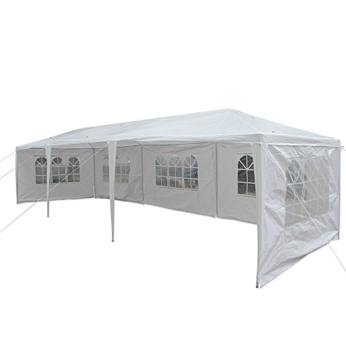 ALightUp 10ft x 30ft Folding White Metal Gazebo Beach Canopy Tent, Outdoor Patio Tent with 5 Side Walls -  KDHHNO12