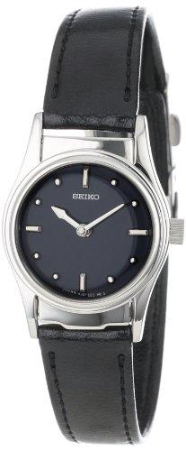 Seiko Women's SWL001 Braille Black Leather Strap - Dial Black Watch Braille