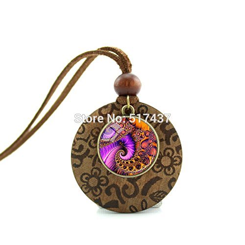 - Pretty Lee New Design Wood Necklace Pink Swirls Pendant Sacred Geometry Jewelry Art Glass Cabochon Necklace