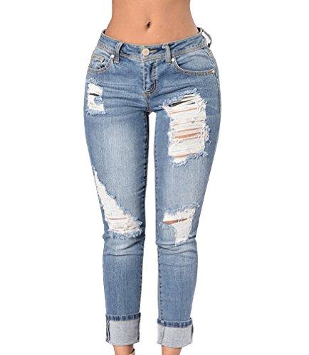 Azzurro Donna Caviglia Boyfriend Comodo Alta Denim Chiaro In Elastico Leggings Jeans Vita Pantaloni Strappati qH7qwpaT