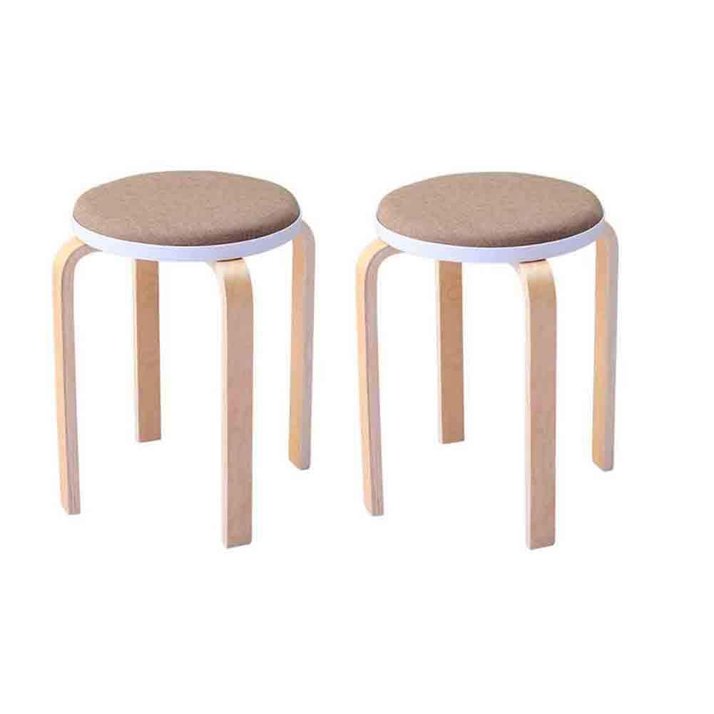 WGXX Chaise 2pcs Tabourets en Bois Tabourets Empilables Chaise Cuisine Int/érieure Ext/érieure Couleur : Light Brown Couleurs Vari/ées