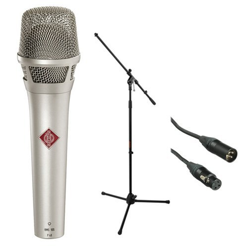 Neumann KMS 105 - Live Vocal Condenser Microphone (Nickel) With XLR Cable and Mic Stand ()