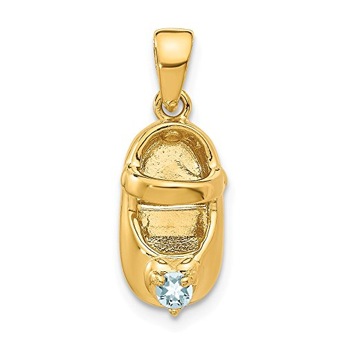 14k Yellow Gold 3 D March/synthetic Stone Engraveable Baby Shoe Pendant Charm Necklace Birthstone Fine Jewelry Gifts For Women For Her