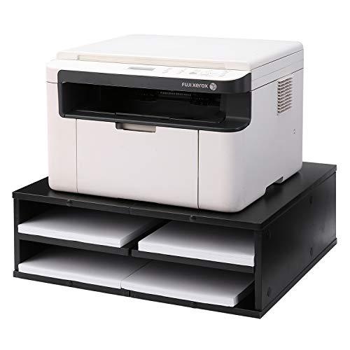 5Rcom Printer Stand Dual Computer Tabletop Monitor Stand Risers with Storage,Black Multifunctional Desktop Organizer/Shelf
