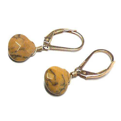 Yellow Moss Agate Briolette Lever Back Earrings Gold-Filled (Moss Yellow Agate)