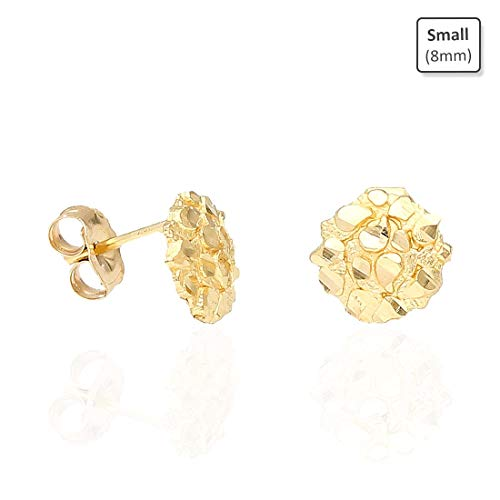 Gold Womens Nugget - 10K Solid Yellow Gold Round Nugget Pushback Stud Earrings, Small