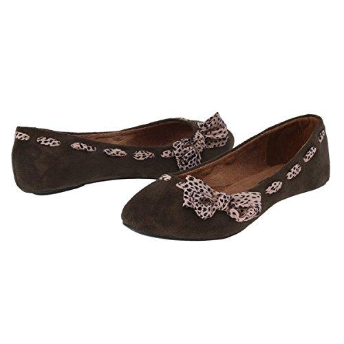 Damara Moda Zapatos Planos Con Lazo De Leopardo Bailarinas Para Mujer Café