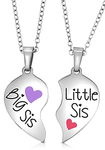 2 Piece Heart Halves Matching Big Sis Little Sis Sisters Necklace Jewelry Gift Set Best Friends (Big Sis Purple - Little Sis Pink)