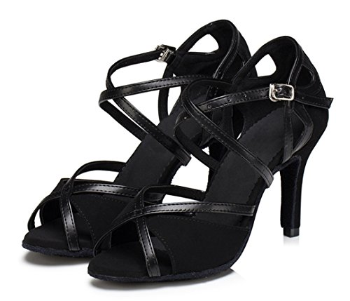 Dance Suede Shoes TDA Stiletto Strap Black High Latin Fashion Ankle Heel Women's EHZwfnqz