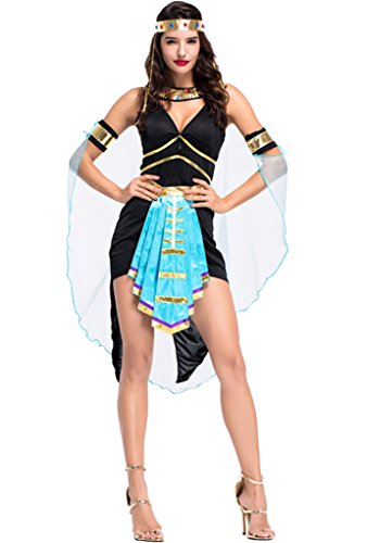 Joygown Women's Egypt Queen Goddess Fancy Dance Dress Up Outfits Costume Black and Blue M ()