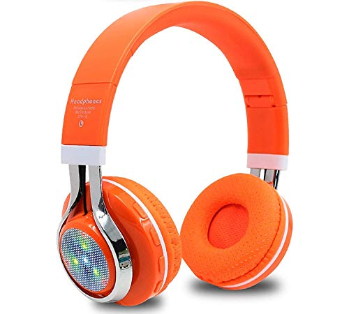 Christmas Gifts Bluetooth Wireless Headset Sport Earphone Mic LED Light TF FM for PC Phone,Grey Earbuds,OrangeHelmet