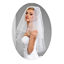 L'ivresse 2 Layers Short Bridal Veil Wedding With Comb Pencil Edge bachelorette