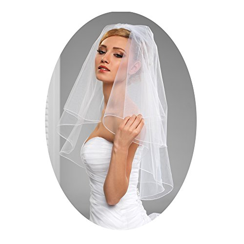 Bridal Veils Veil (L'ivresse 2 Layers Short Bridal Veil Wedding With Comb Pencil Edge bachelorette)