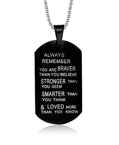 Pendent Necklace Dog Tag Always Remember to My Son from Dad Mom Mens Necklace Military Chain