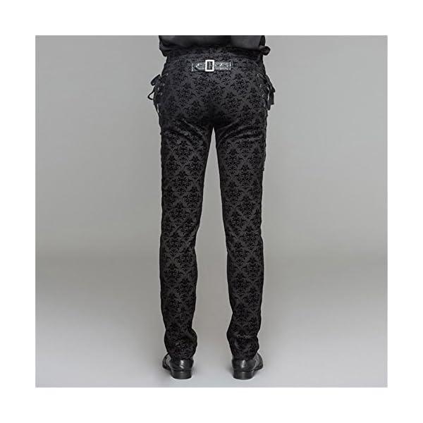 Devil Fashion Punk Men Cotton Dress Pants Victorian Printed Bandage Bridal Pants 5