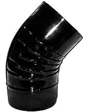 WOLFPACK 22011117 Codo Estufa Color Negro Vitrificado de 130mm 45°