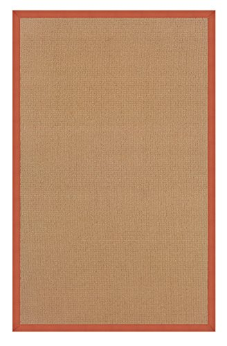 Linon 8 ft. x 2.6 ft. Athena Rug in Cork with Burnt Orange Border -