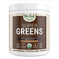 Super Greens Chocolate | #1 Green Veggie Superfood Powder for Immune Support | 100% USDA Organic Non-GMO Vegan Supplement | 20+ Whole Foods (Wheat Grass, Spirulina, Chlorella), Probiotics, Enzymes