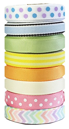 Hipgirl 40 Yards 3/8 Grosgrain Fabric Ribbon Set For Gift Package Wrapping, Hair Bow Clip Accessory Making, Crafting, Sewing, Wedding Decor, Boy Girl Baby Shower-(8x5yd Easter Pastel) (Yds Lavender Organza Sheer Ribbon)
