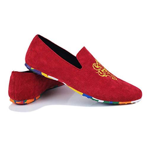 MocasíN Mocasines Zapatos On Suave Zapatos Flats De Macho Hombres Rojo Slip ConduccióN xFvq4z