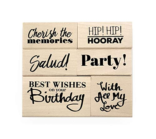 Opia CRAFTS Everyday Sentiment Wood Mounted Rubber Stamp Set for Card Making, Scrapbooking and DIY Crafts - Birthday, Party Invitation, Congratulations, Celebration, Memories, 6 Pieces ()