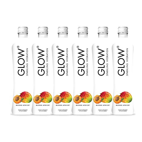 GLOW Beverages Premium Sparkling Infused Hydration Drink - 6 Pack 12oz Glass - Mango Apricot - Vitamins & Antioxidants