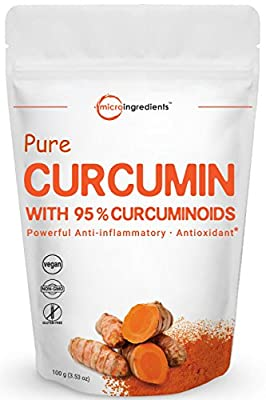 Maximum Strength Pure Curcumin 95% Natural Turmeric Extract Powder, 100 grams, Powerful Anti-Inflammatory Antioxidant Supplements for Joint Pain Relief, Non-GMO and Vegan Friendly.