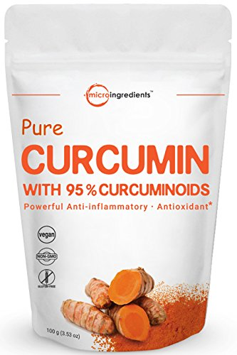 Maximum Strength Pure Curcumin 95% Natural Turmeric Extract Powder, 100 grams, Powerful Anti-Inflammatory Antioxidant Supplements for Joint Pain Relief, Non-GMO and Vegan Friendly