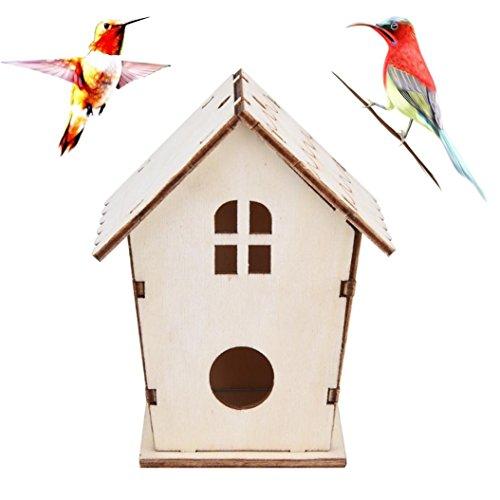 OVERMAL Clearance Wood Bird House, Nest DOX Nest House Bird House Bird House Bird Box Bird Box Wooden Box (C)