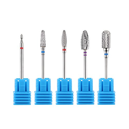 Makartt 5PCS Silver Tungsten Carbide Nail Drill Bits Set Acrylic Cuticle Nails File Bit Manicure Pedicure 3/32