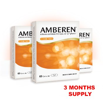 Amberen - Menopause Relief Supplement for Hot Flashes, Weight Gain, Irritability and Other Symptoms of Menopause (3-months course)