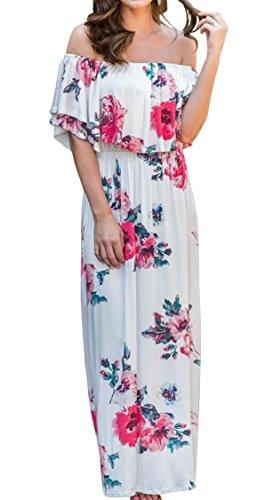 Floral Maxi Print White Jaycargogo Women Off Dress Shoulder 5PXEPUxwnq