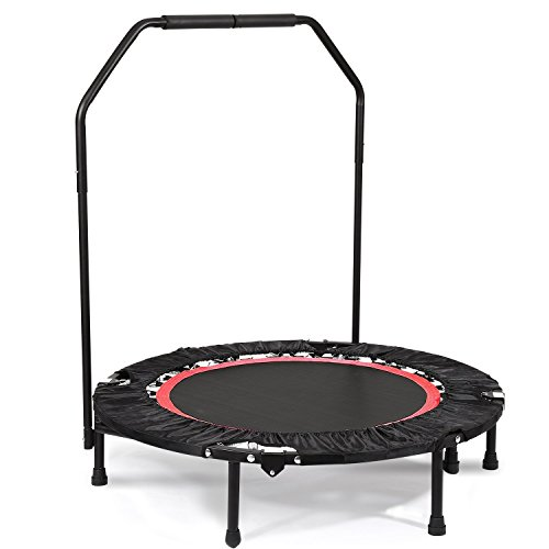 Creine 40 Inch Foldable Exercise Trampoline, Mini Fitness Rebounder Cardio Workout Training Trampoline with Adjustable Handrail for Home Outdoor Adult Kids Child Children Men Women Exercises (US STOCK by Creine