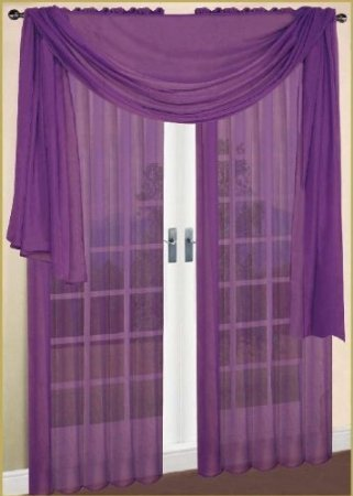 MONAGIFTS purple Scarf Voile Window Panel Solid sheer valance curtains