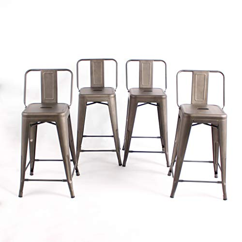 Buschman Set of 4 Bronze 24 Inch Counter Height Metal Bar Stools with Medium Back Indoor Outdoor (Backs With Bar Cheap Stools)