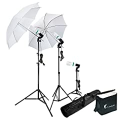 """[2 x] 33"""" Photography Studio Translucent Shoot Through White Photo Video Umbrella • Made of High Quality Nylon Construction • Works well to diffuse the light from any Flash/Strobe Light and Constant Light • Premium Snow White translucent Refl..."""