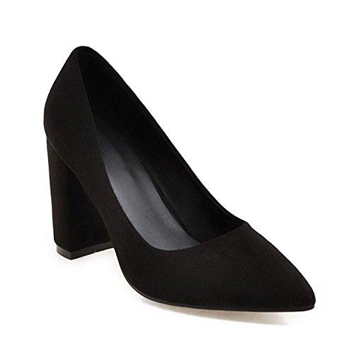 High Heels Shoes 8.5cm Big Size 33-43 Wedding Bride Shoes Shallow Shallow Women Pumps Flock Nubuck Leather Spring Black 6