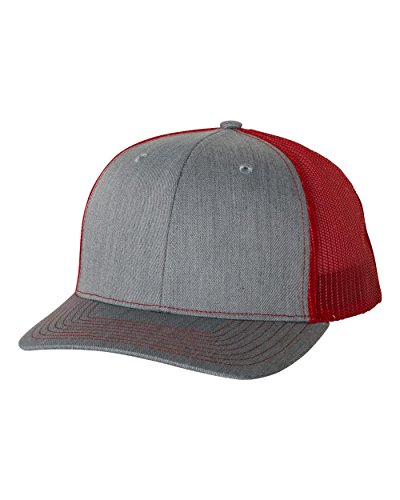 - Richardson 112 Heather Grey/Red Mesh Back Trucker Cap Snapback Hat