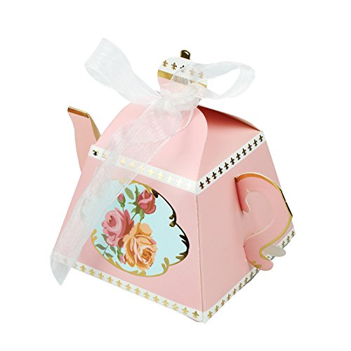 Vlovelife 12pcs Pink Teapot Shape Party Favor Boxes Ribbon Tea Theme Decorations Candy Boxes Tea Time Whimsy Collection Creative Paper Candies Gift Boxes