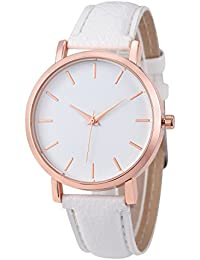 Womens Quartz Watches,COOKI Unique Analog Fashion Clearance Lady Watches Female watches on Sale Casual Watches for Women,Round Dial Case Comfortable PU Leather Watch-H12 (White)