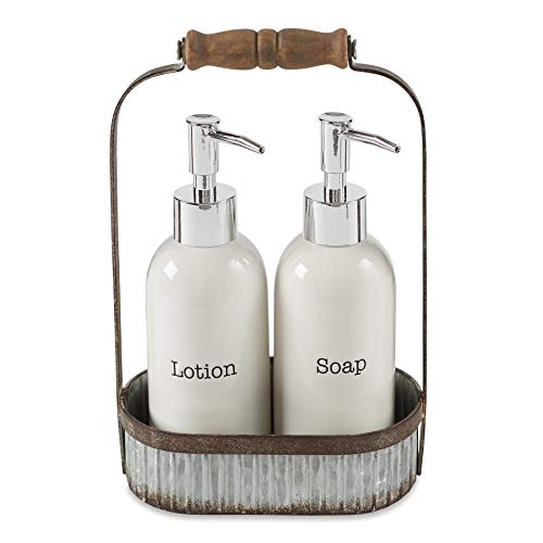 (Mud Pie Farmhouse Inspired Lotion Caddy Soap Pump Set, White)