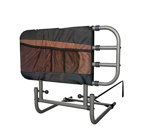 Stander EZ Adjust & Pivoting Adult Home Bed Rail + 3 pocket organizer pouch + Adjustable in Length to 26