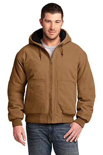 CornerStone Men's Washed Duck Cloth Insulated Hooded Work Jacket XL Duck Brown