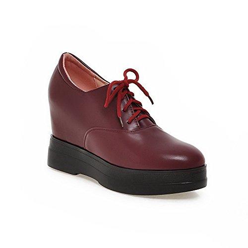 Pu scarpe Rotonda Rosse Donne Talloni Chiusa up Solide Delle Pompe Lace Punta Allhqfashion qPwx8Ran8H