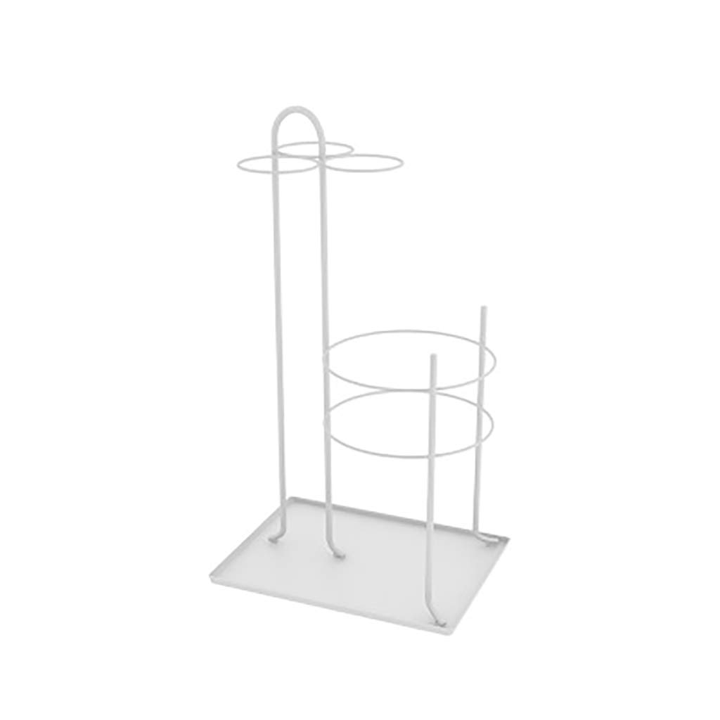 Entryway Freestanding Black Metal Long Umbrella & Short Folding Umbrella Holder Stand Rack (Color : White)
