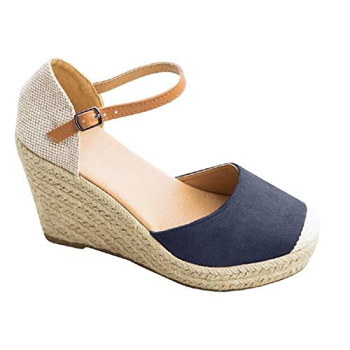 FISACE Womens Summer Espadrille Heel Platform Wedge Sandals Ankle Buckle Strap Closed Toe Shoes Navy