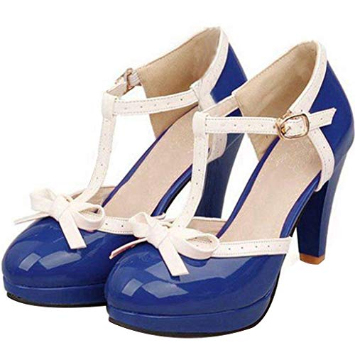 Vitalo Women's High Heel Platform Pumps with Bows Vintage T Bar Court Shoes Size 8.5 B(M) US,Royal -