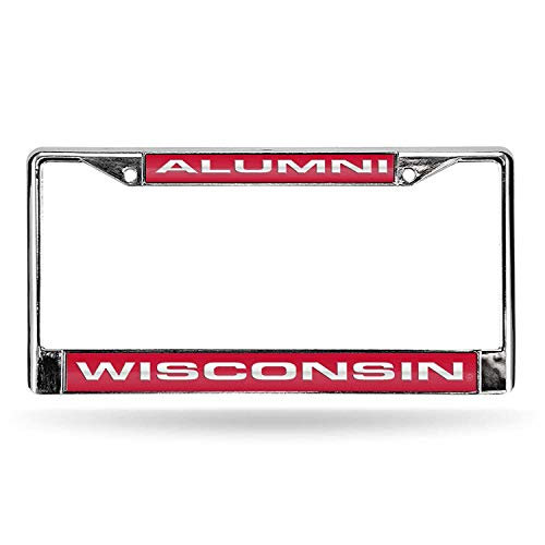 Wisconsin Badgers Bottle - Rico Industries NCAA Wisconsin Badgers Laser Cut Inlaid Standard License Plate Frame, Chrome, 6