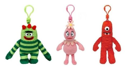Yo Gabba Gabba (Foofa, Brobee, Muno) Soft Plush Clip - 3 pcs Set -